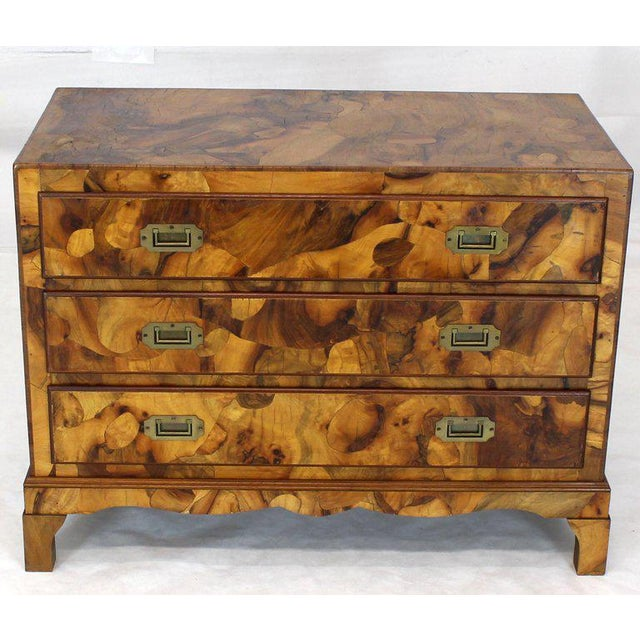 1970s Mid-Century Modern Italian Burl Olive Wood Patch Parquetry 3-Drawer Bachelor Chest For Sale - Image 10 of 11