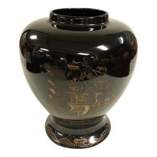 Black & Gold Nautical Temple Jar For Sale