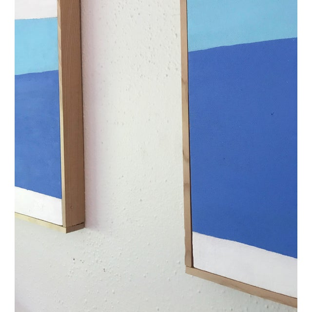 Colorful Post Modern Hard Edge Diptych Paintings by J. Marquis, a Pair For Sale - Image 4 of 5