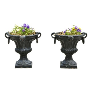 Vintage Cast Iron French Style Garden Urn Planters Pots With Chinese Faces - A Pair For Sale