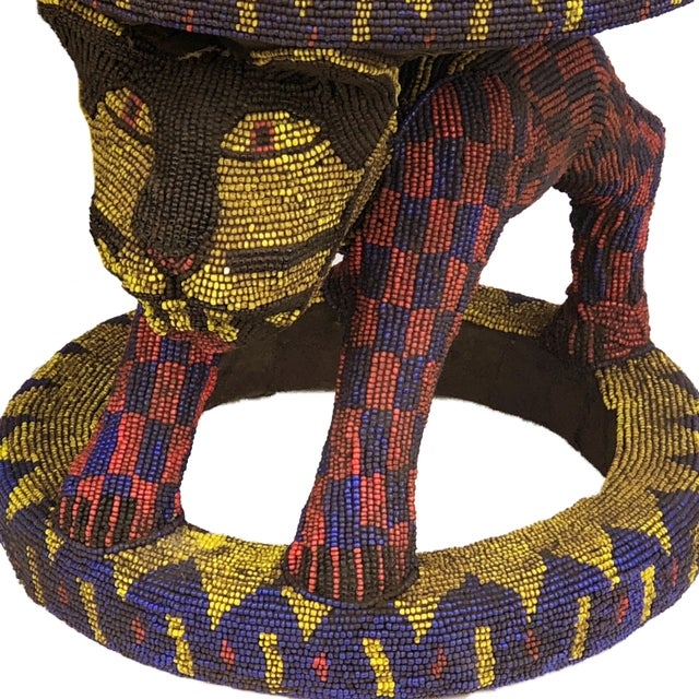 """1970s Old Lg African Beaded Wood Bamileke Stool /Table Cameroon 18.5'""""h For Sale - Image 5 of 10"""