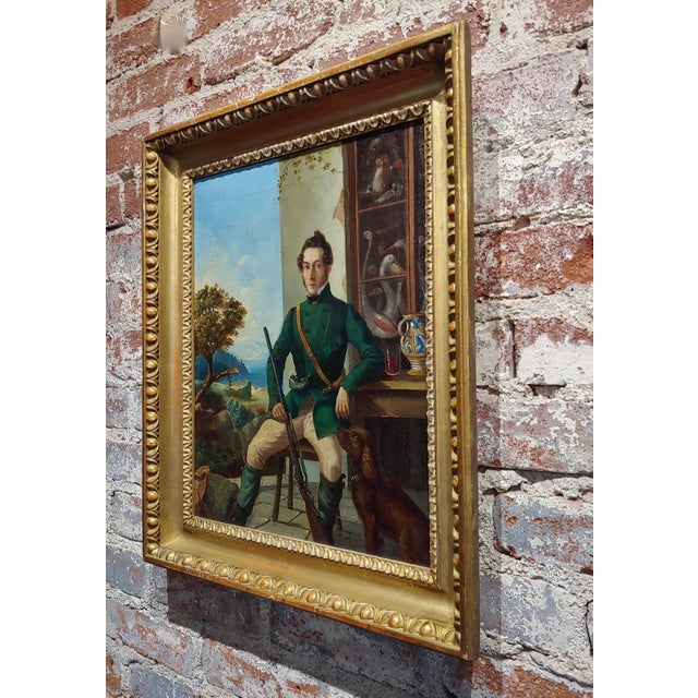 Portrait of a Hunter W/His Dog-19th Century Italian School-Oil Painting For Sale In Los Angeles - Image 6 of 8