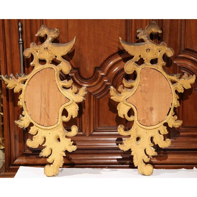 Gold Mid-19th Century French Louis XV Carved Gilt Rococo Mirrors With Wings - A Pair For Sale - Image 8 of 9
