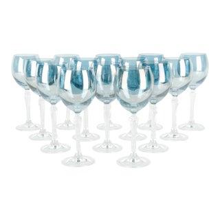 Mid-Century Iridescent Blue Crystal Wine Glasses