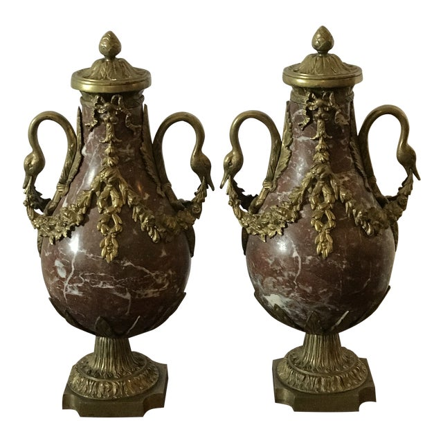 Marble and Bronze Gilt Urns with Bronze Mounts - a Pair For Sale