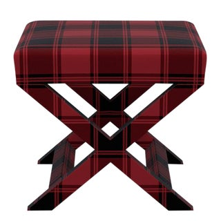 X Bench in Red Tartan For Sale