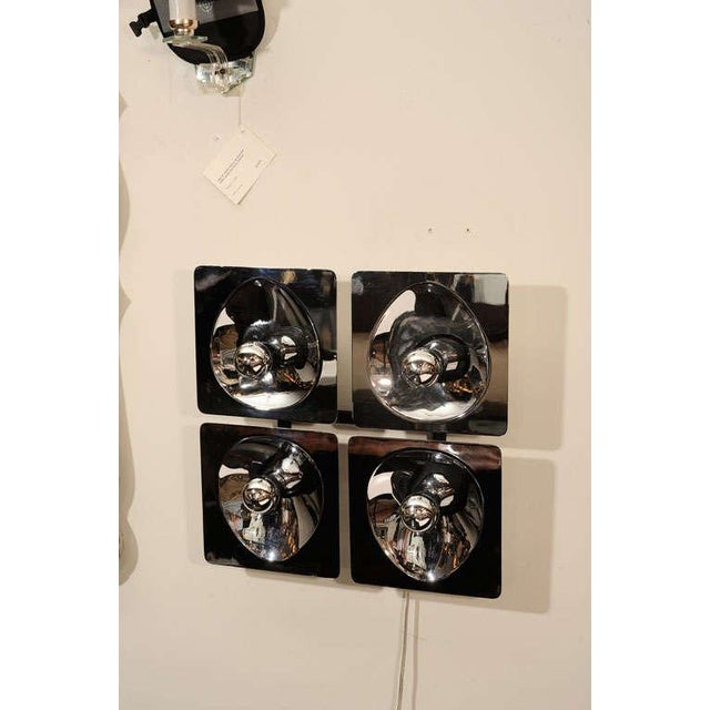 Mid Century sculptural wall lights in reflective chrome can be hung as shown or in the form of a diamond. Each chrome...