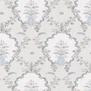 "Lewis & Wood Sample - Vallance - Tea Rose -Wide 52"" Wallpaper - Damask Pattern For Sale"