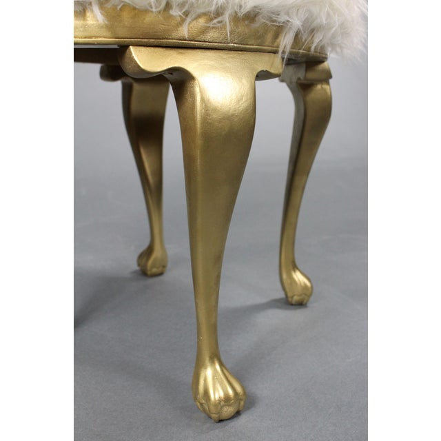 Hollywood Regency 19th Century Gold Victorian Hollywood Regency Faux Mongolian Sheep Fur Foot Stools - a Pair For Sale - Image 3 of 7