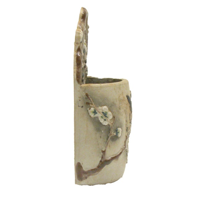 Asian Vintage Matte Gray Majolica Match Holder For Sale - Image 3 of 3