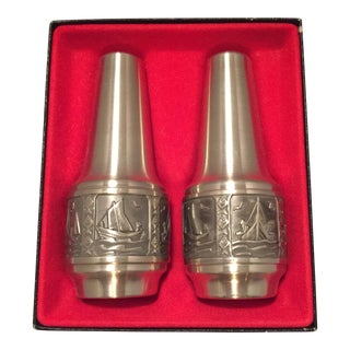 Pewter Norwegian Themed Salt & Pepper Shakers