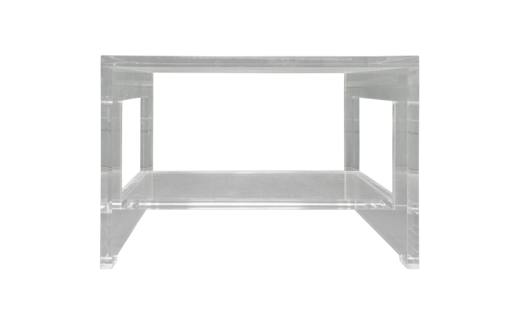 Contemporary Thick, Polished Lucite Side Table For Sale   Image 3 Of 6