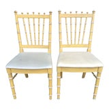 Image of 1970s Thomasville Faux Bamboo Dining Chairs - a Pair For Sale