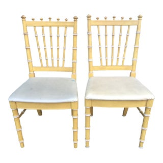 1970s Thomasville Faux Bamboo Dining Chairs - a Pair For Sale