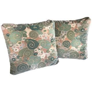 Pair of Vintage 1970s Jack Lenor Larsen Velvet Print Throw Pillows For Sale