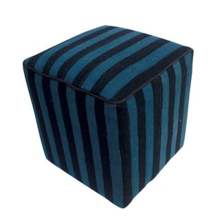 Arshs Donnette Black/Blue Kilim Upholstered Handmade Ottoman For Sale