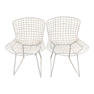 Pair, Mid Century Knoll Bertoia Wire Mesh Chairs For Sale