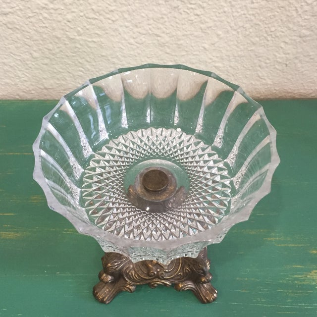 Antique Cut Glass and Bronze Candy Dish - Image 4 of 6