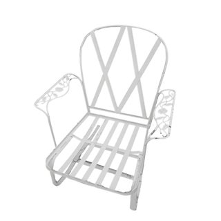 1980s Vintage Russell Woodard Chantilly Rose Wrought Iron Garden Chair For Sale