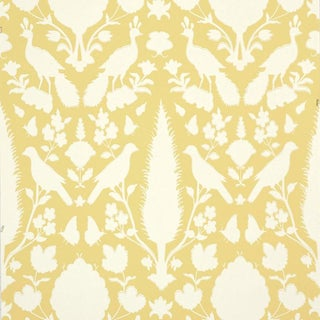 Sample - Schumacher Chenonceau Damask Wallpaper in Buttercup Yellow For Sale