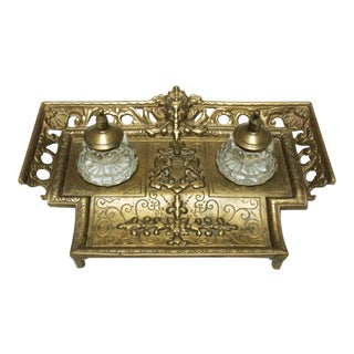 Brass Standish With Glass Inkwells For Sale