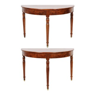 19th C. Italian Cherry Demilune Console Tables - a Pair For Sale