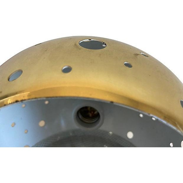 Gold 1960s Modern Perforated Flush Light For Sale - Image 8 of 11