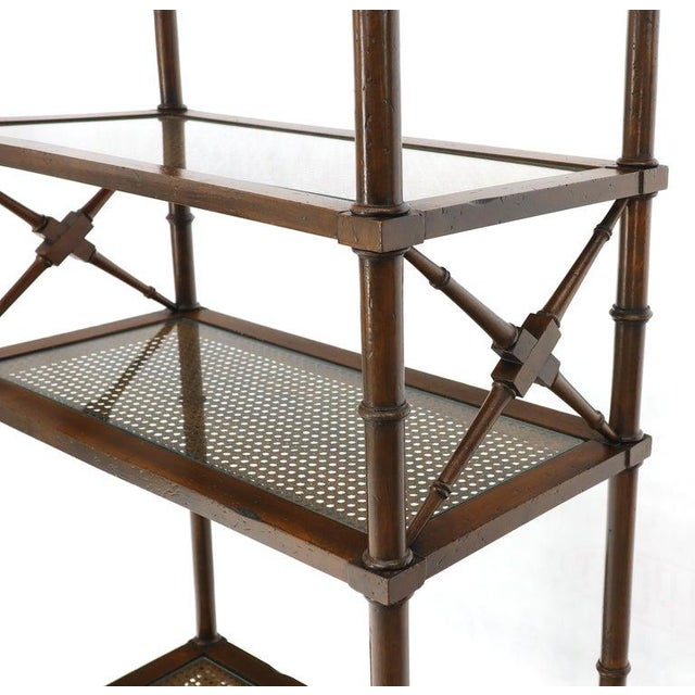 X Stretchers Faux Bamboo Cane and Glass Shelves Étagère Shelves For Sale - Image 9 of 13
