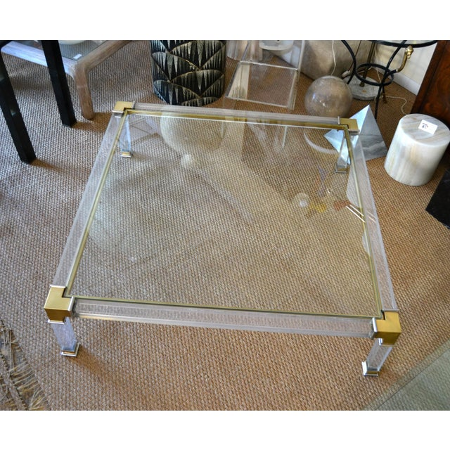 Hollywood Regency Early Charles Hollis Jones Hollywood Regency Acrylic Bronze & Chrome Glass Table For Sale - Image 3 of 13