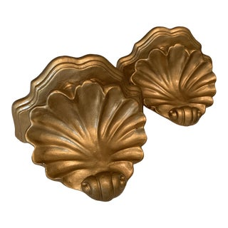 Vintage Gilt Shell Sconce Shelves - a Pair For Sale