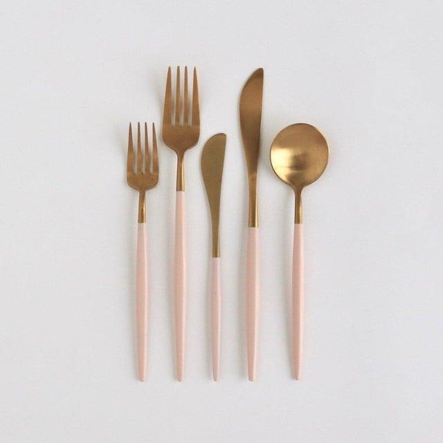 Modern Luna Pink + Gold Flatware Set - Set of 5 For Sale - Image 3 of 3