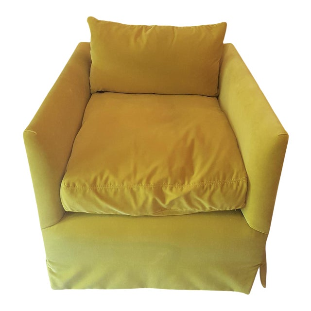 Closed Back Yellow Velvet Club Chair For Sale