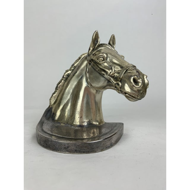 American Silver Horse Head Bookends - a Pair For Sale - Image 3 of 13