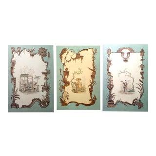 Louis XV Oil Celadon Chinoiserie Genre Scenes
