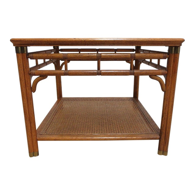 Vintage Mid-Century Campaign Faux Bamboo Carved End Table For Sale