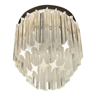 Chic Murano Two-Tiered Camer Quadriedri Crystal and Brass Flush Mount Chandelier For Sale