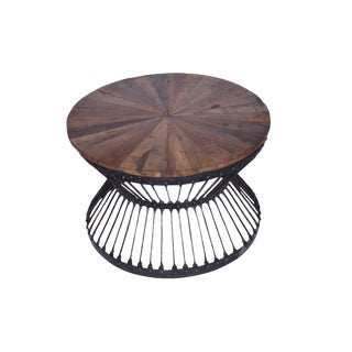 Industrial Round Metal Brown Coffee Table For Sale