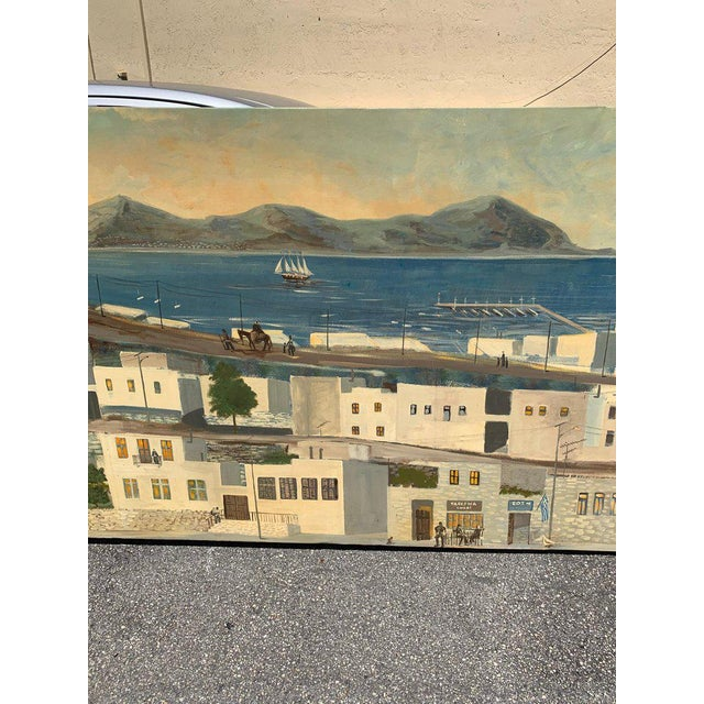 Black Monumental Oil Painting Mykonos Island Greece Signed by G.Tsitsilianos 1986 For Sale - Image 8 of 13