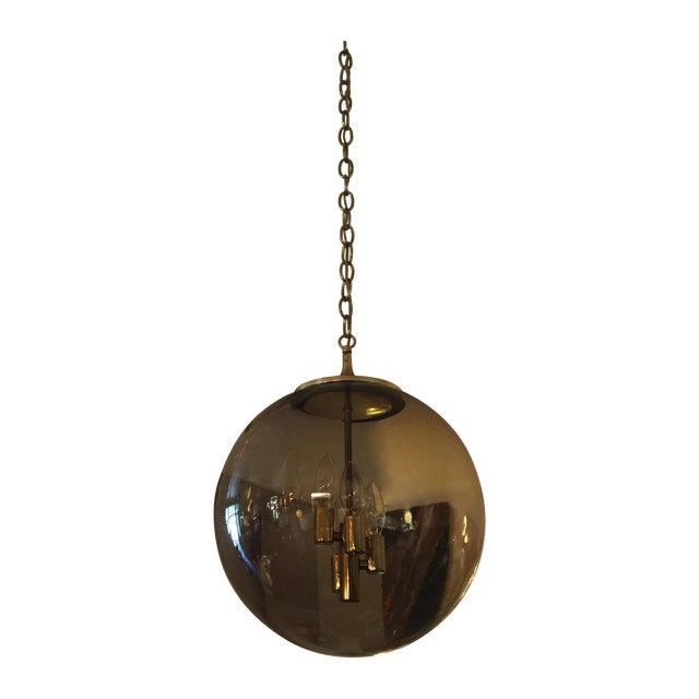 Limburg Circular Smoke Glass and Brass Chandelier - Image 1 of 7