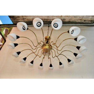 Brass Chandelier Design by Stilnovo with White Shades Preview