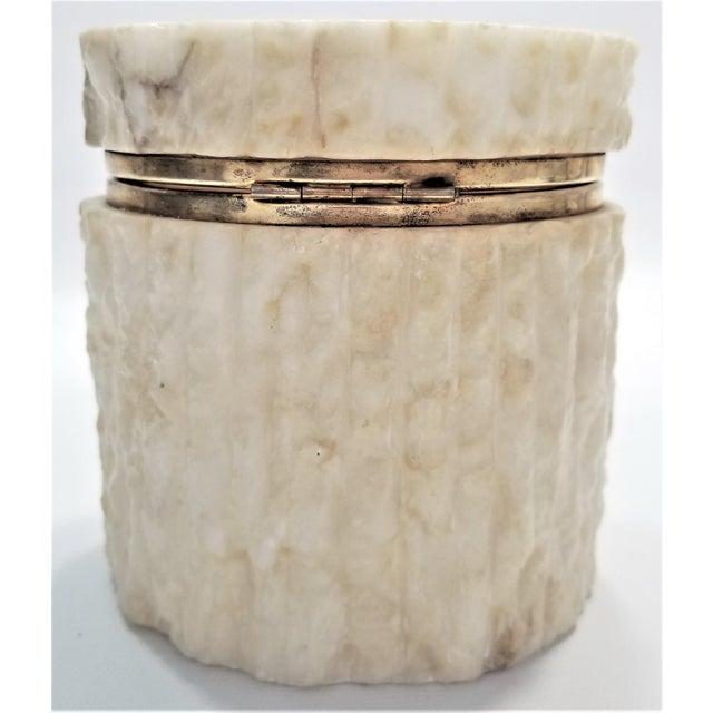 Art Deco Rare Heavy Vintage Italian Alabaster Marble Jewelry Box - Italy Mid Century Modern Palm Beach Boho Chic For Sale - Image 3 of 13