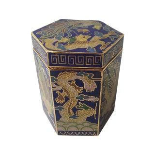 Vintage Cloisonné Hexagon Box For Sale