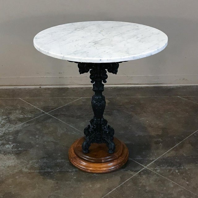 19th Century Cast Iron Marble Top Café Table For Sale - Image 11 of 11