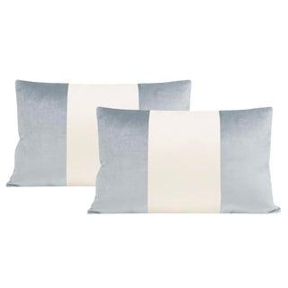 """12""""x18"""" Mist Velvet & Alabaster Silk Panel Lumbar Pillows - a Pair For Sale"""