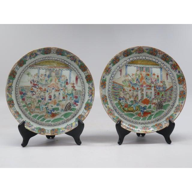 Antique Chinese Mandarin Plates -Pair - Image 2 of 6