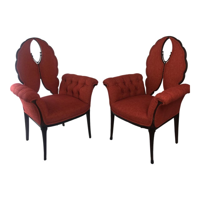 Mid-Century Orange Upholstered Butterfly Chairs - a Pair For Sale