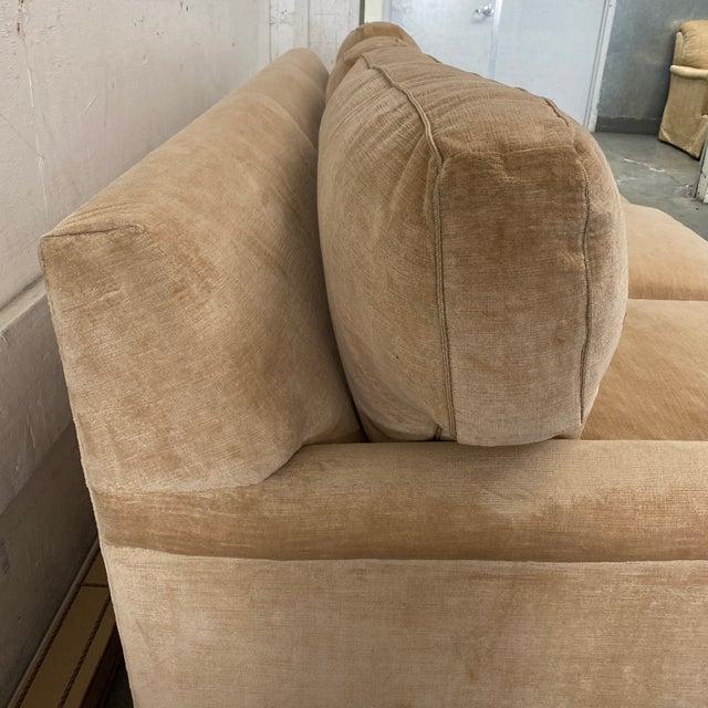 Belmar Custom Upholstery Rolled Arm Cream Velvet Sofa For Sale - Image 11 of 13