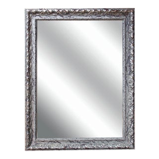 Beveled Mirror with a Silver Gilded Frame
