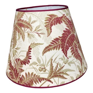 Red and Green Fern Botanical Print Lampshade For Sale