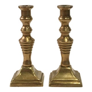 Early 20th Century Antique Peerage of England Brass Candlesticks- A Pair For Sale